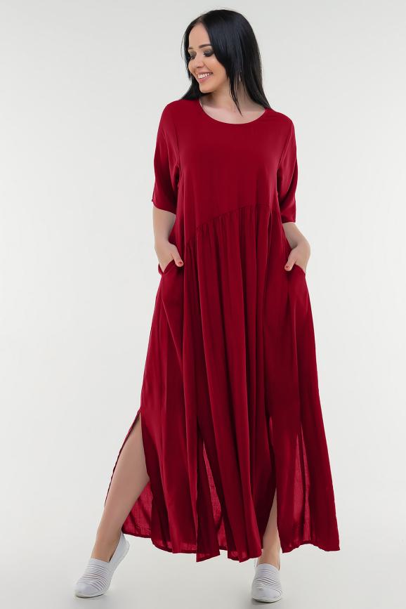 Летнее платье балахон красного цвета 226-1 it|интернет-магазин vvlen.com