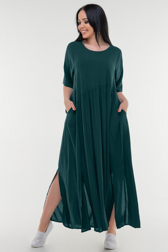Летнее платье балахон бутылочного цвета 226-1 it интернет-магазин vvlen.com