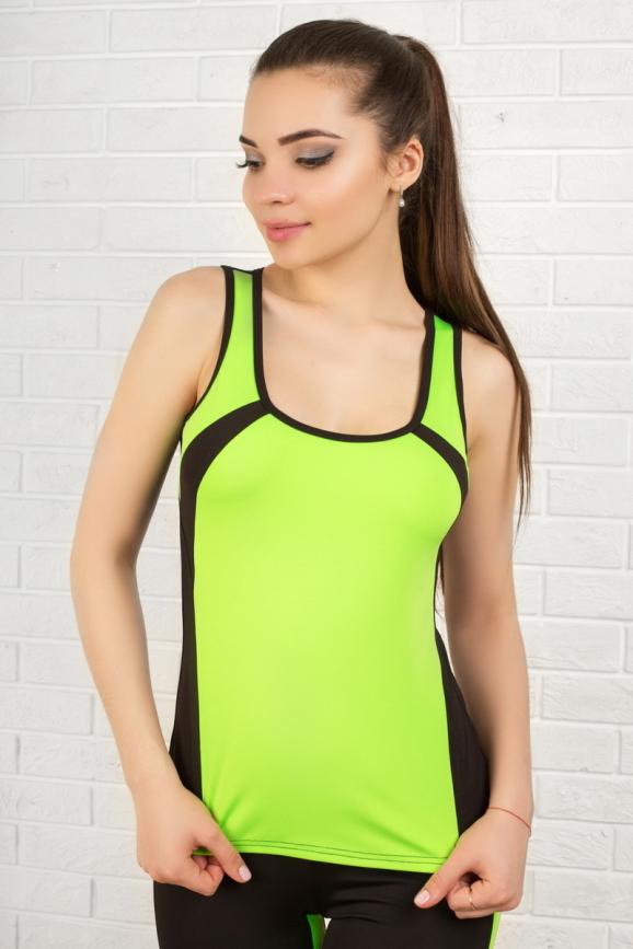 Майка для фитнеса черного с зеленым цвета 2321.67|интернет-магазин vvlen.com