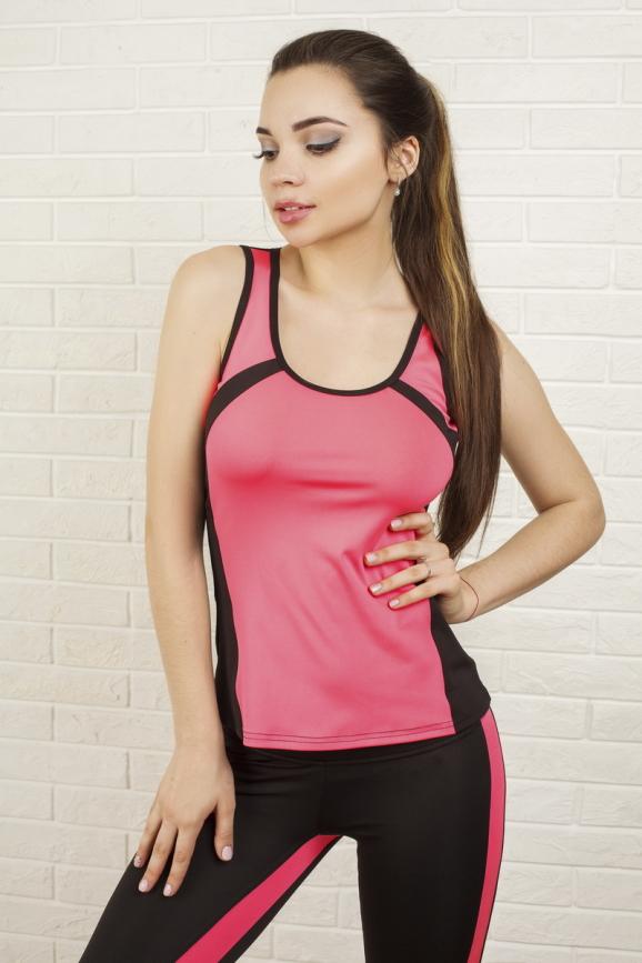 Майка для фитнеса черного с розовым цвета 2321.67|интернет-магазин vvlen.com