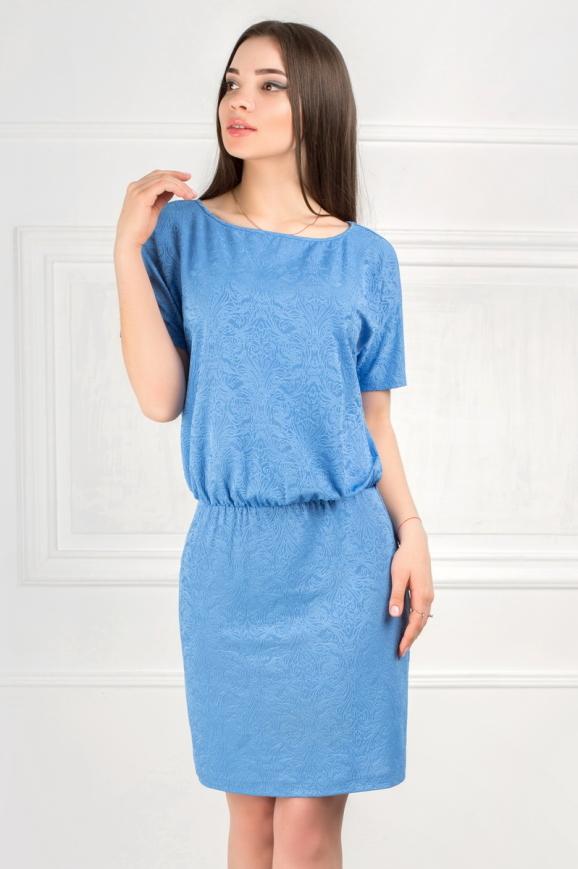 Повседневное платье футляр голубого с белым цвета|интернет-магазин vvlen.com