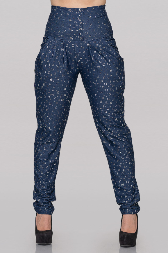 Женские брюки синие с буквами|интернет-магазин vvlen.com