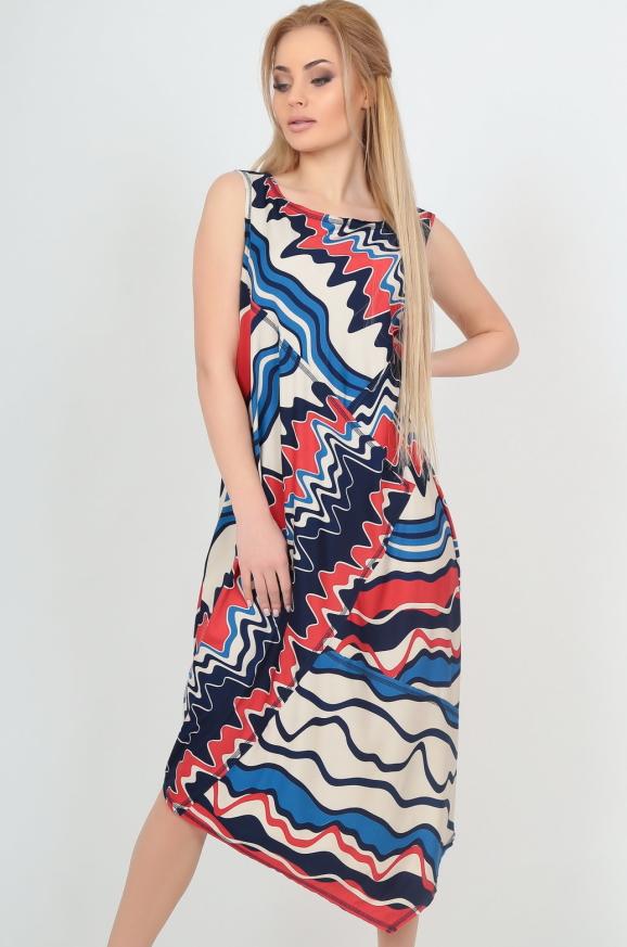 Летнее платье оверсайз синего с красным цвета|интернет-магазин vvlen.com