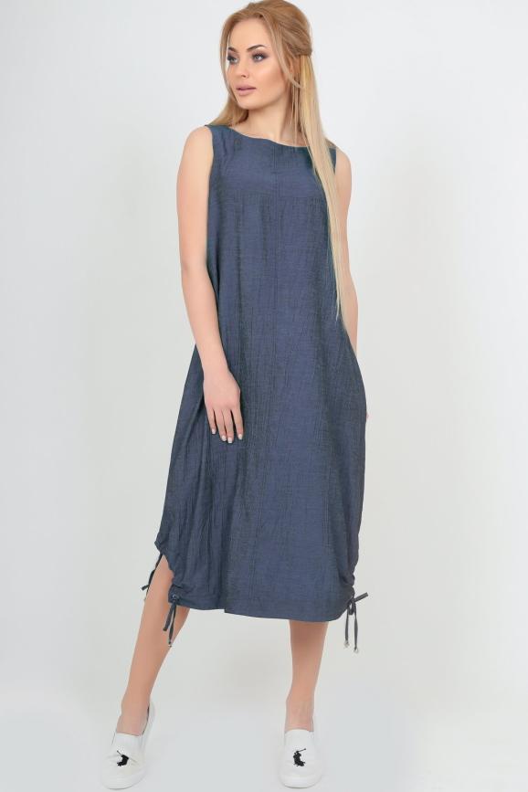 Летнее платье оверсайз синего цвета 2545.22|интернет-магазин vvlen.com