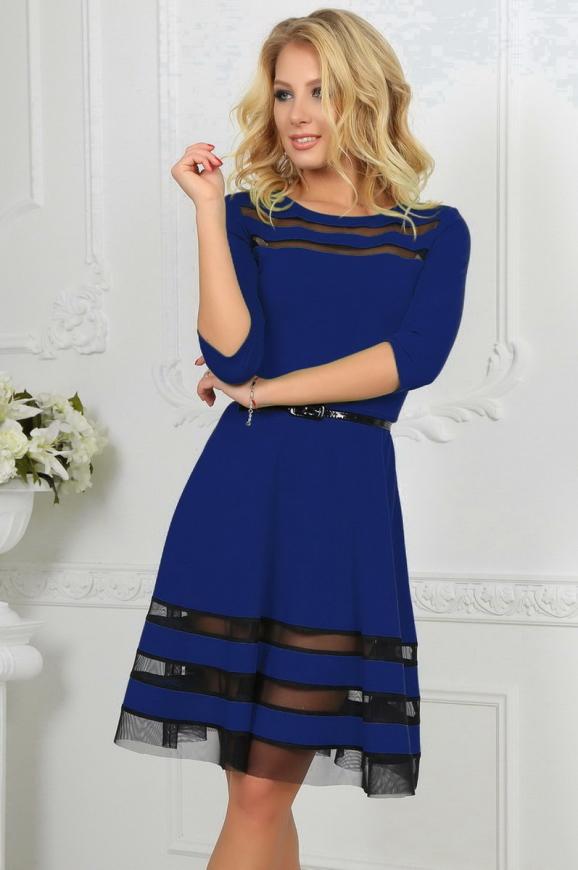 Коктейльное платье с расклешённой юбкой электрика цвета 1487-1.47|интернет-магазин vvlen.com