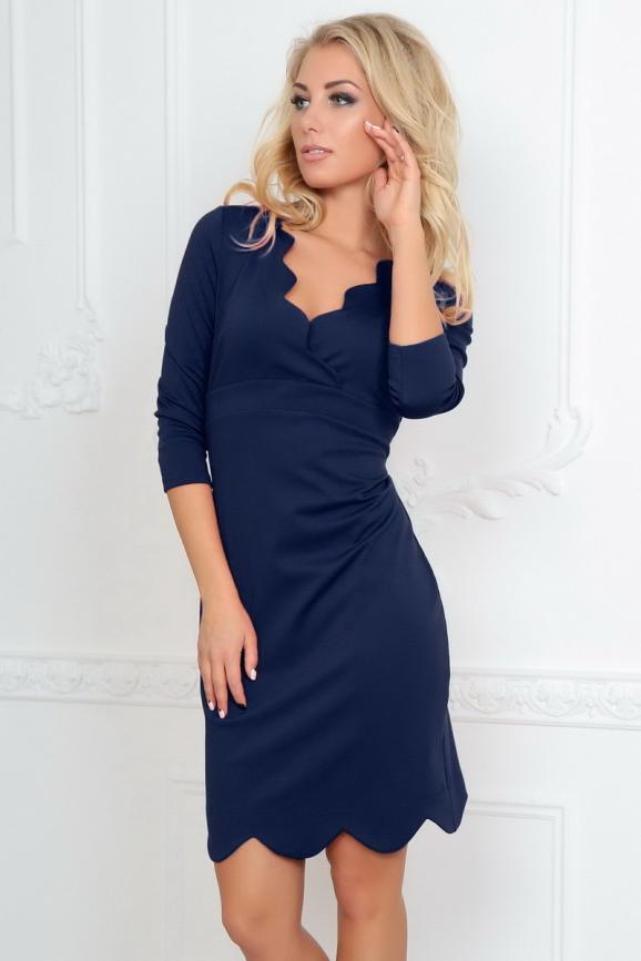 Повседневное платье футляр темно-синего цвета 2489.47|интернет-магазин vvlen.com