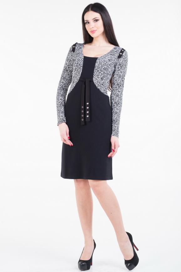 Повседневное платье футляр черного с белым цвета 937.1|интернет-магазин vvlen.com