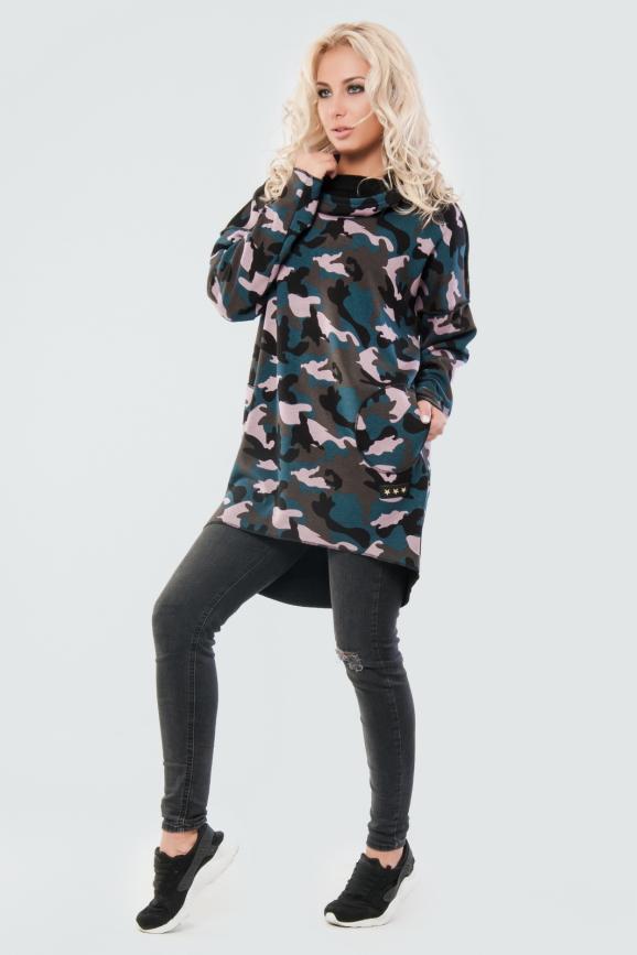 Худи оверсайз хаки с сиреневым цвета с капюшоном 2349-1.94|интернет-магазин vvlen.com
