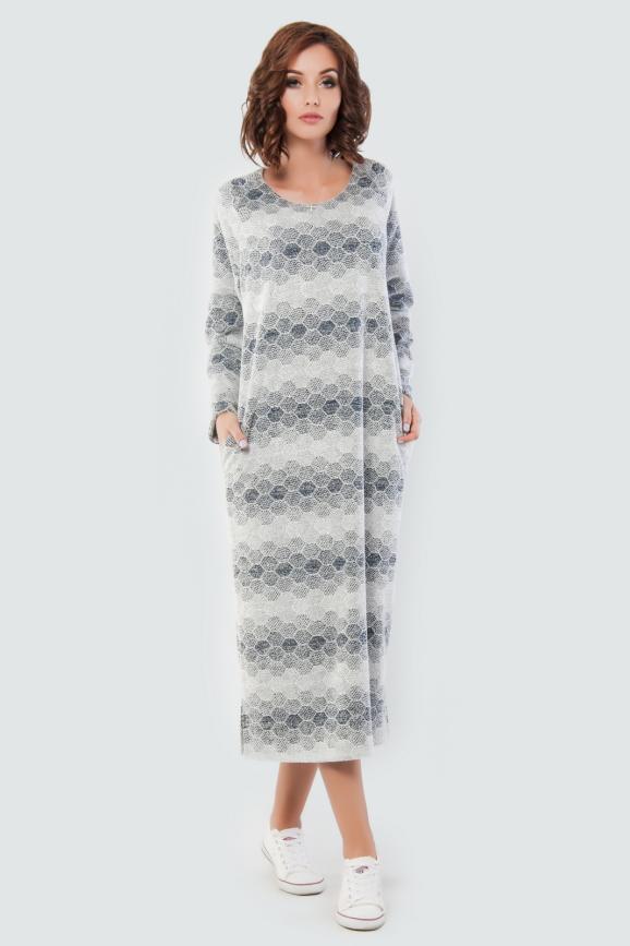 Платье  мешок  серого цвета 2470-2.95|интернет-магазин vvlen.com