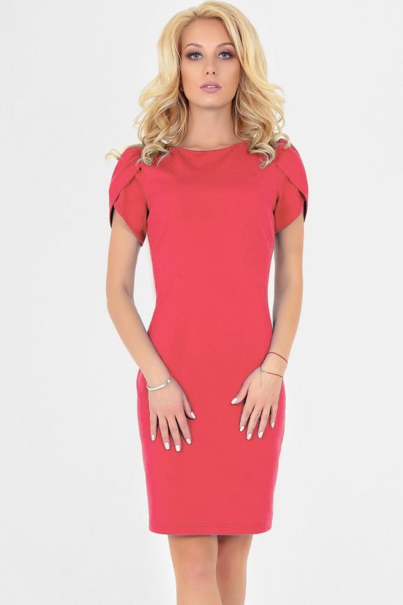Летнее платье футляр розового цвета 2504-1.47 интернет-магазин vvlen.com