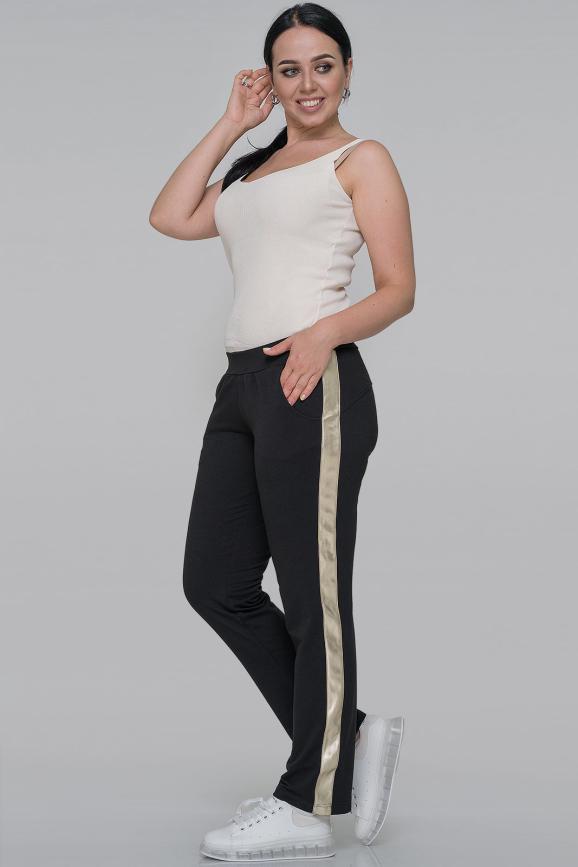 Спортивные брюки черного с золотистым цвета|интернет-магазин vvlen.com