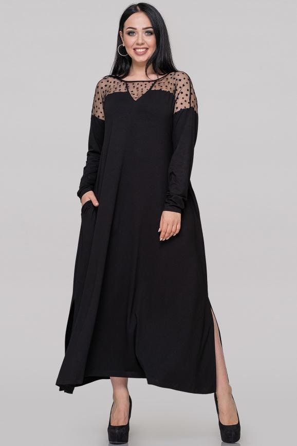 Платье оверсайз черного цвета 2900.17|интернет-магазин vvlen.com