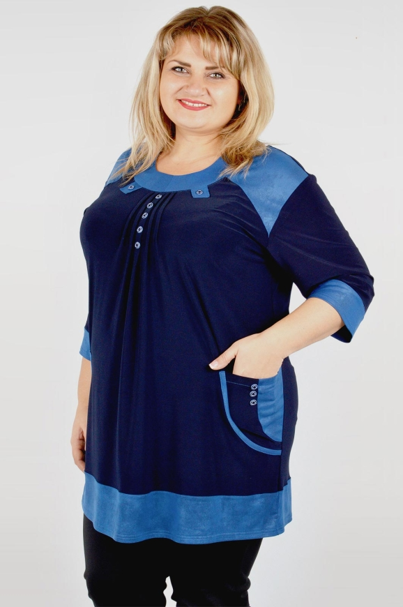 Туника асимметричная темно-синего цвета 708м-4|интернет-магазин vvlen.com