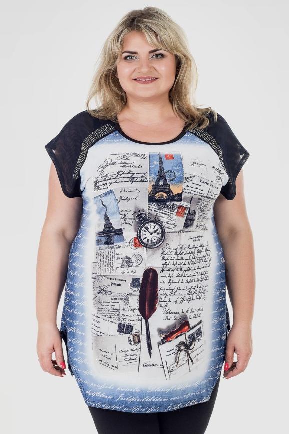 Туника асимметричная джинса цвета 794м-1|интернет-магазин vvlen.com