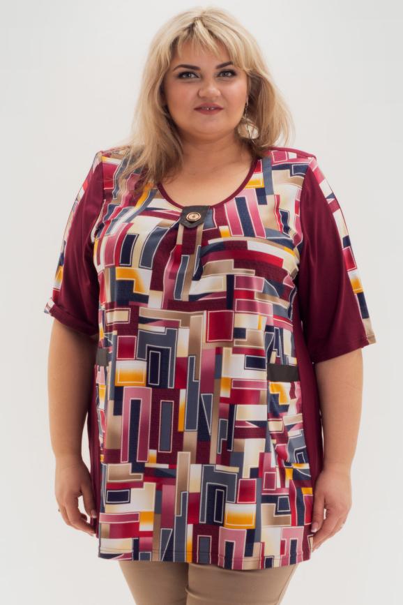 Туника асимметричная бордового цвета|интернет-магазин vvlen.com