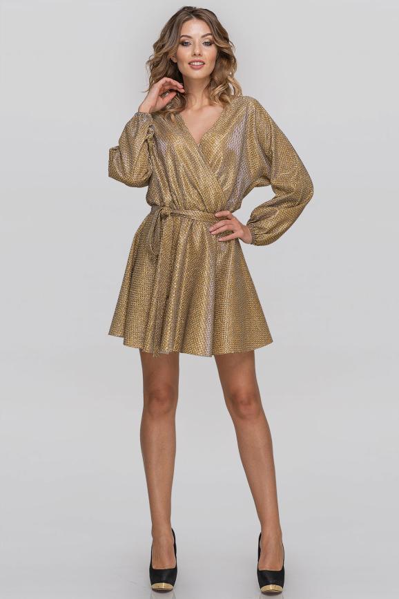 Коктейльное платье с расклешённой юбкой золотистого цвета|интернет-магазин vvlen.com