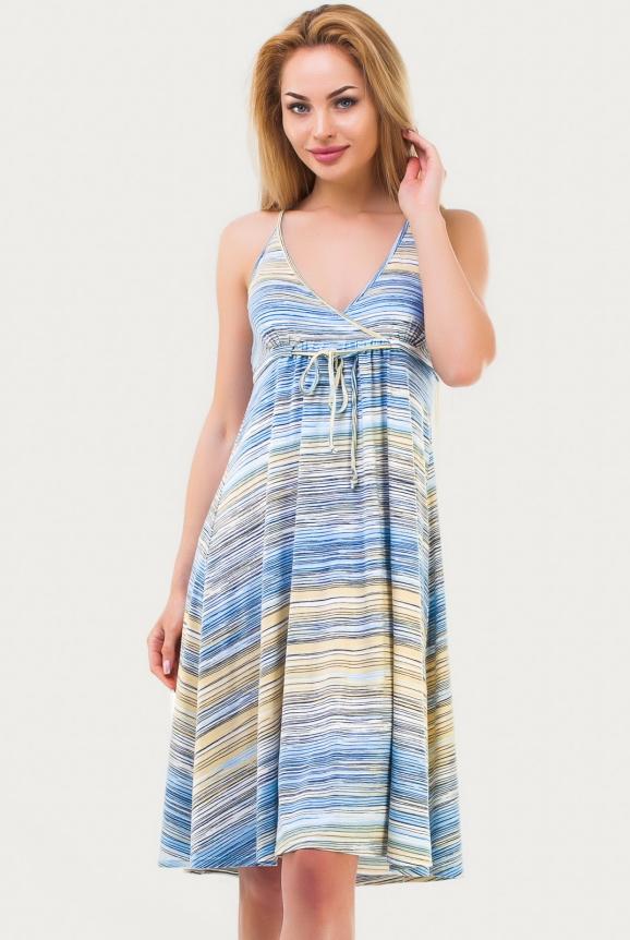 Летнее платье с расклешённой юбкой желтого с голубым цвета 1337.17|интернет-магазин vvlen.com