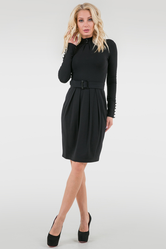 Офисное платье с юбкой тюльпан черного цвета|интернет-магазин vvlen.com