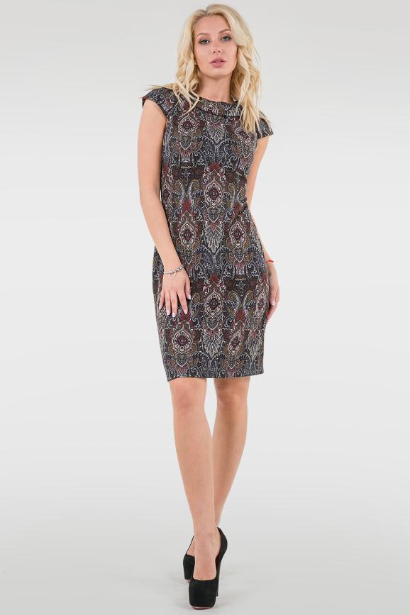 Повседневное платье футляр черного с красным цвета 2081.55|интернет-магазин vvlen.com