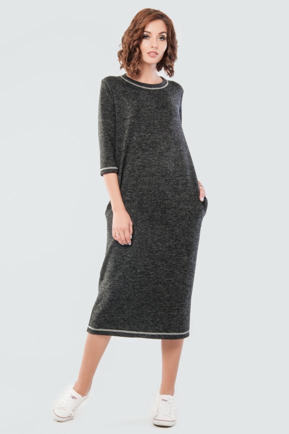 Спортивное платье  темно-серого цвета 2618.96|интернет-магазин vvlen.com