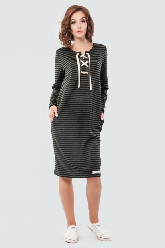 Спортивное платье  серого с черным цвета 2615-1.40|интернет-магазин vvlen.com