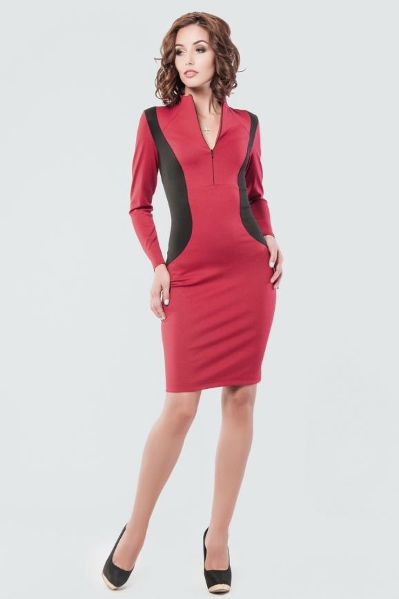 Офисное платье футляр вишневого цвета 1886.47|интернет-магазин vvlen.com