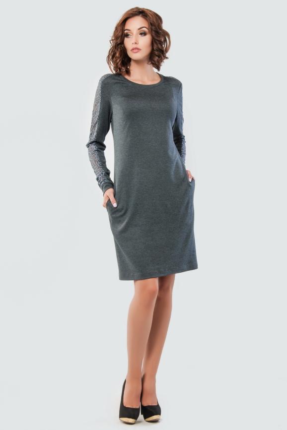 Повседневное платье футляр серого цвета|интернет-магазин vvlen.com