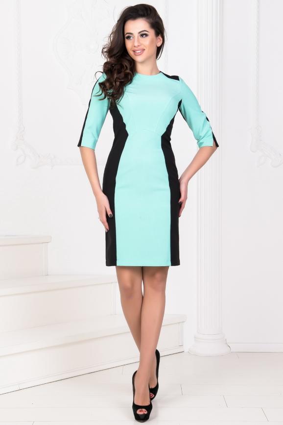 Офисное платье футляр черного с мятным цвета|интернет-магазин vvlen.com