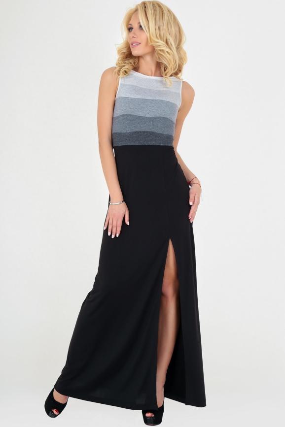 Летнее платье с расклешённой юбкой черного с серым цвета 1798|интернет-магазин vvlen.com