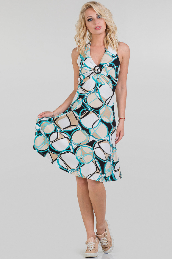 Летнее платье с открытой спиной белый с бежевым цвета|интернет-магазин vvlen.com