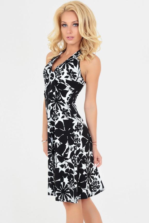 Летнее платье с расклешённой юбкой черного с белым цвета 447|интернет-магазин vvlen.com