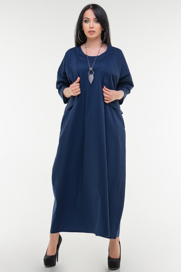 Летнее платье  мешок темно-синего цвета|интернет-магазин vvlen.com