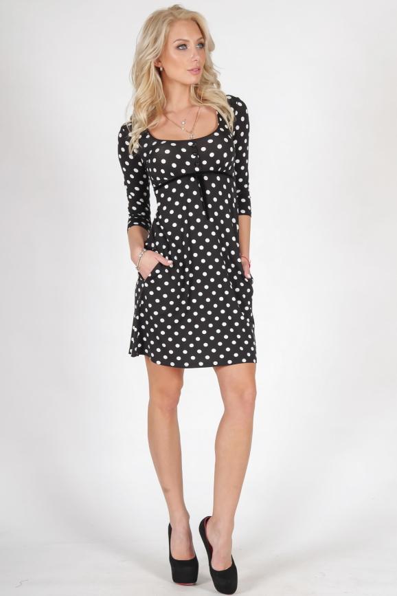 Повседневное платье трапеция черного с белым цвета интернет-магазин vvlen.com