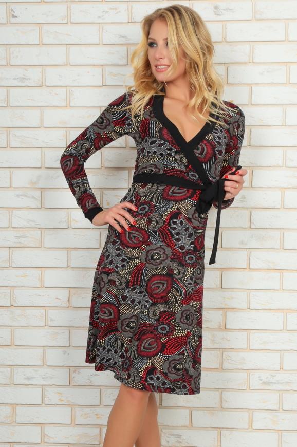 Повседневное платье с юбкой на запах бордового c черным цвета|интернет-магазин vvlen.com