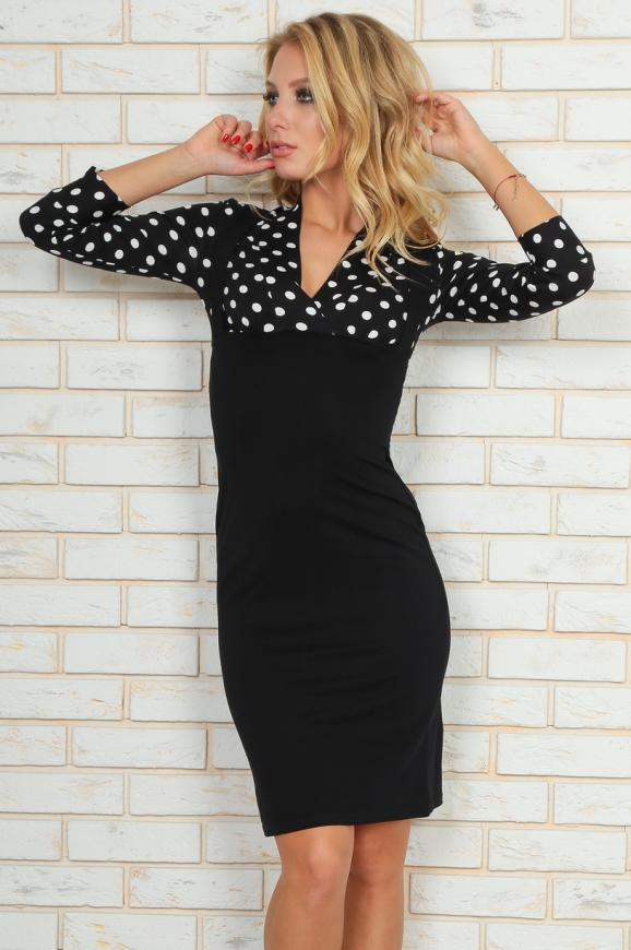 Офисное платье футляр черного с белым цвета 454.2|интернет-магазин vvlen.com
