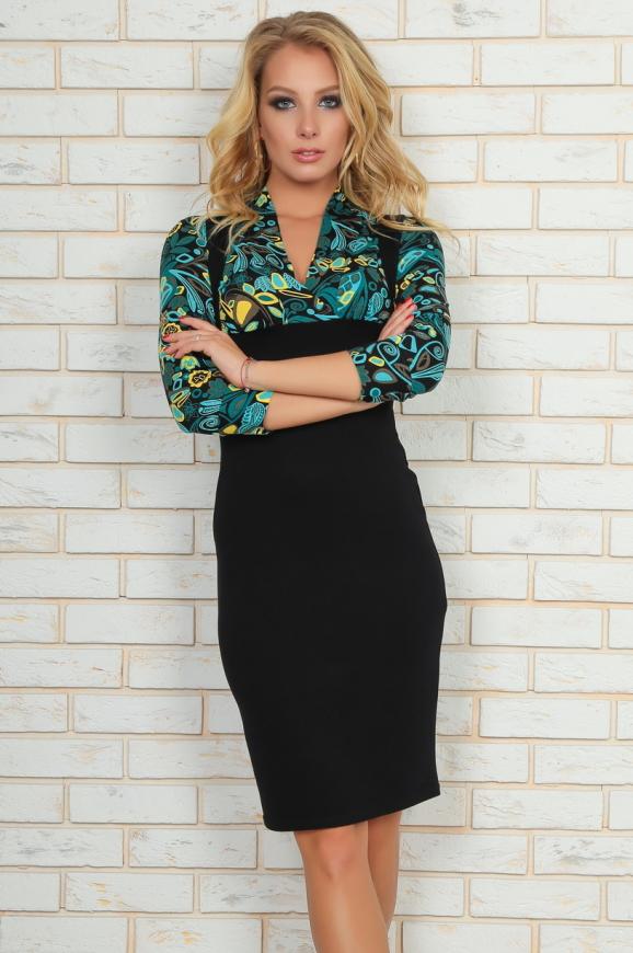 Офисное платье футляр черного с зеленым цвета|интернет-магазин vvlen.com