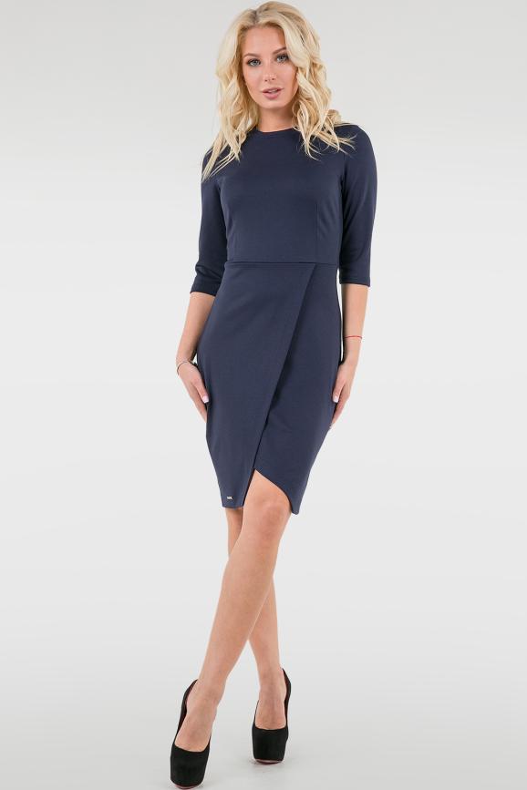 Офисное платье с юбкой на запах темно-синего цвета 2761.47|интернет-магазин vvlen.com