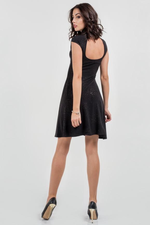Коктейльное платье с расклешённой юбкой черного цвета 429.6|интернет-магазин vvlen.com
