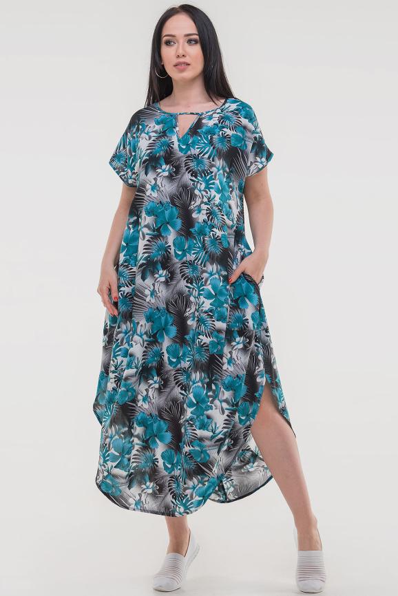 Летнее платье оверсайз бирюзового с серым цвета 2424-4.84|интернет-магазин vvlen.com