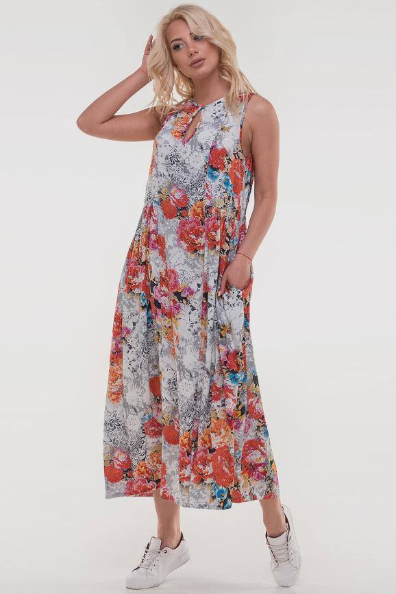 Летнее платье балахон белого с оранжевым цвета 2540.84|интернет-магазин vvlen.com