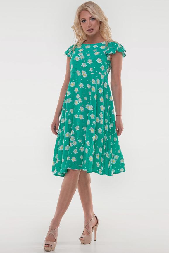 Летнее платье с расклешённой юбкой зеленого цвета|интернет-магазин vvlen.com