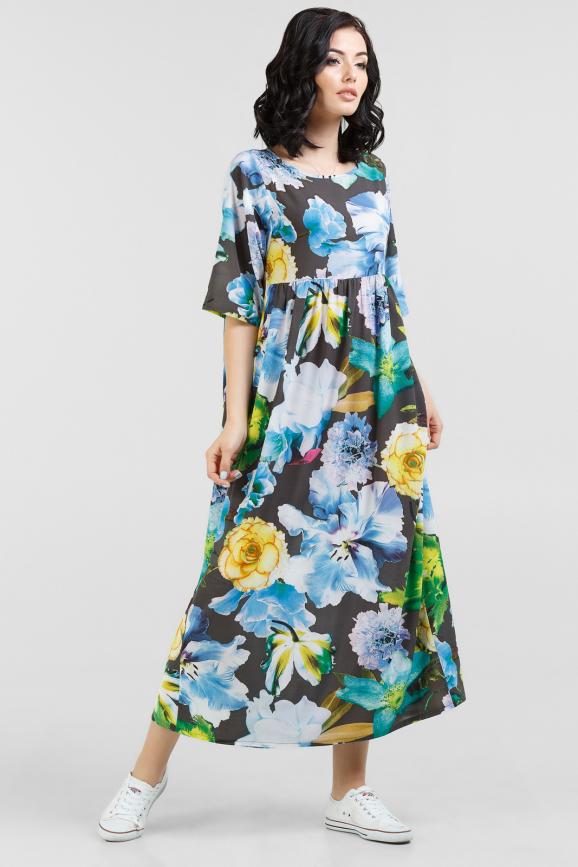 Летнее платье  мешок черного с голубым цвета интернет-магазин vvlen.com
