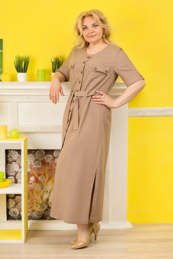 Платье рубашка капучино цвета |интернет-магазин vvlen.com