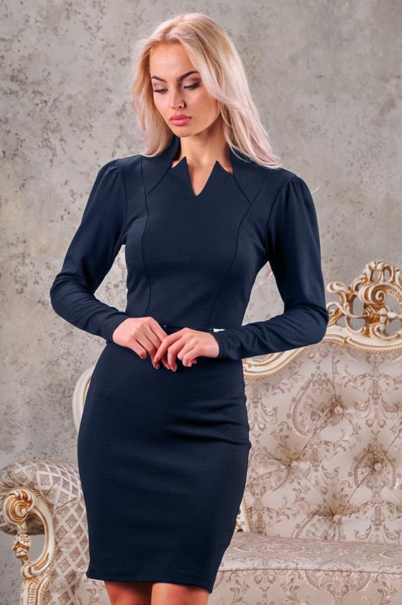 Офисное платье футляр синего цвета|интернет-магазин vvlen.com