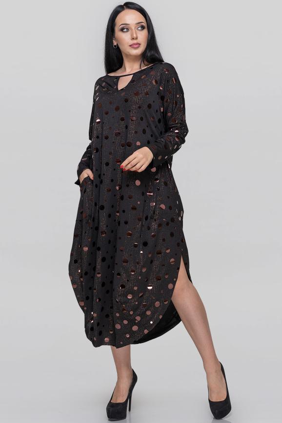 Платье оверсайз черного цвета 2424-2.5|интернет-магазин vvlen.com