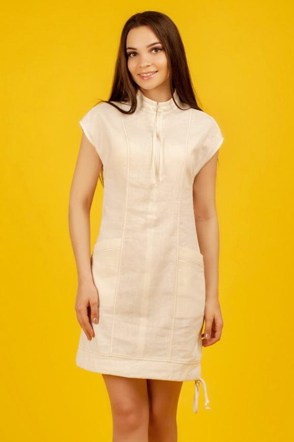 Повседневное платье футляр молочного цвета|интернет-магазин vvlen.com