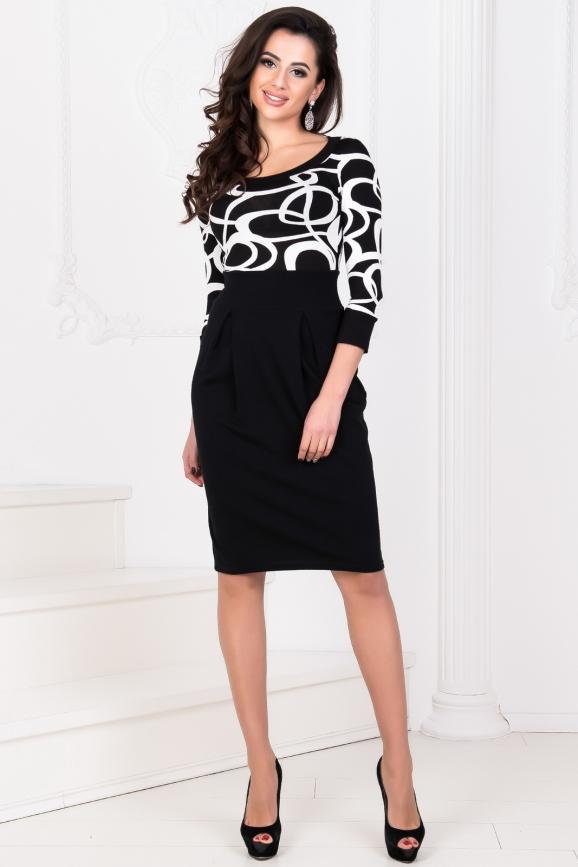 Офисное платье с юбкой тюльпан черного с белым цвета 858.1 интернет-магазин vvlen.com