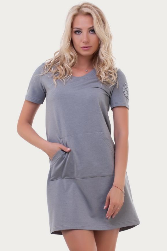 Спортивное платье  светло-серого цвета 6000|интернет-магазин vvlen.com