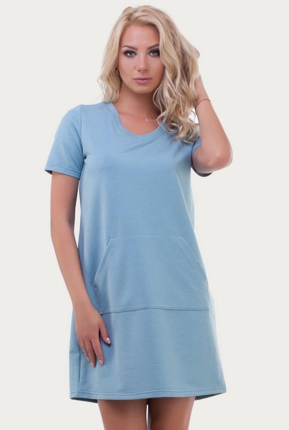 Спортивное платье  голубого цвета 6000|интернет-магазин vvlen.com
