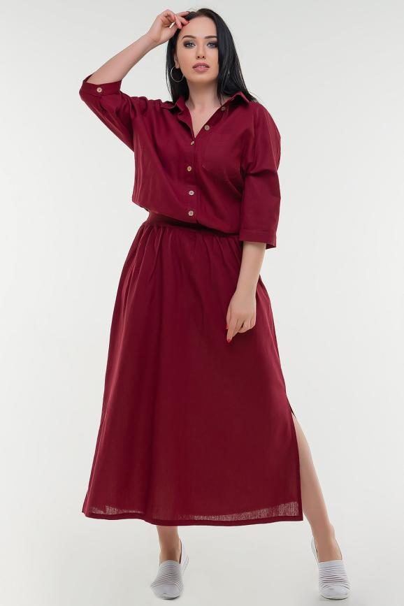 Летнее платье с длинной юбкой бордового цвета|интернет-магазин vvlen.com